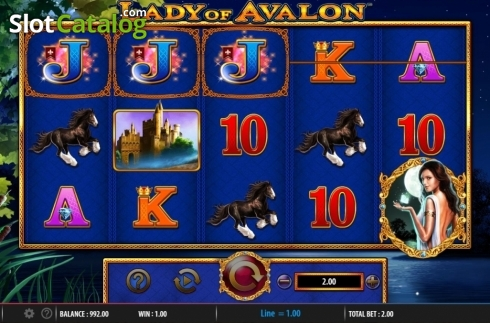 Win Screen. Lady of Avalon (Video Slot from Barcrest)