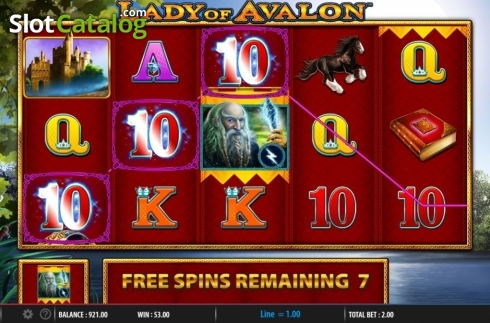 Free Spins. Lady of Avalon (Video Slot from Barcrest)