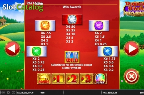 Paytable 1. Rainbow Riches Megaways (Video Slots from Barcrest)