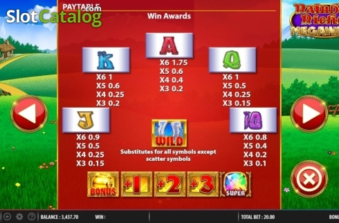 Paytable 2. Rainbow Riches Megaways (Video Slots from Barcrest)