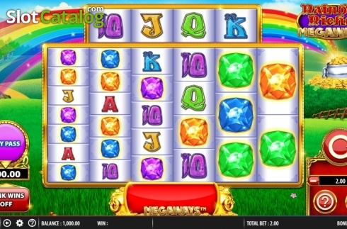 Reel Screen. Rainbow Riches Megaways (Video Slots from Barcrest)