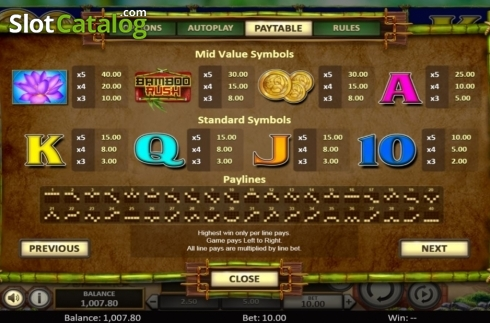 Scherm11. Bamboo Rush (Video Slot van Betsoft)