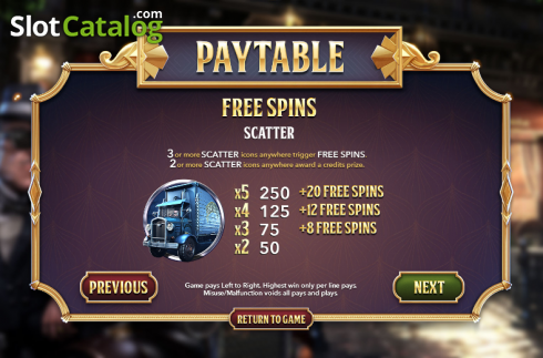 Tabulka plateb 2. SlotFather II (Video Slot z Betsoft)