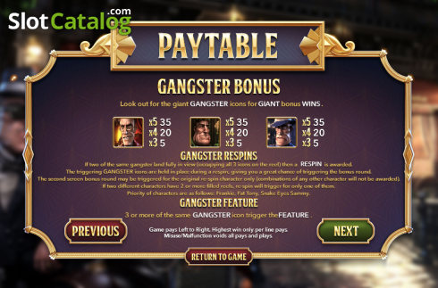 Tabulka plateb 3. SlotFather II (Video Slot z Betsoft)
