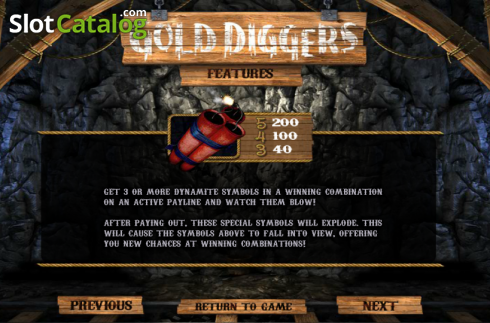 Paytable 2. Gold Diggers (Video Slots from Betsoft)