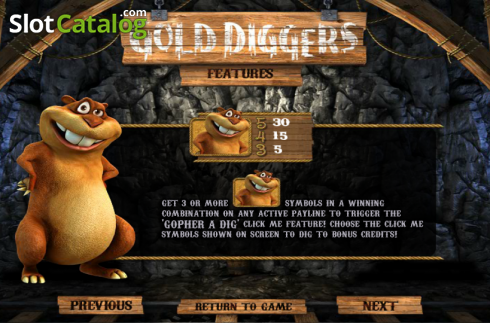 Paytable 3. Gold Diggers (Video Slots from Betsoft)