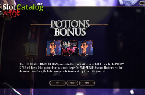 Paytable 5. Dr. Jekyll & Mr. Hyde (Video Slot from Betsoft)