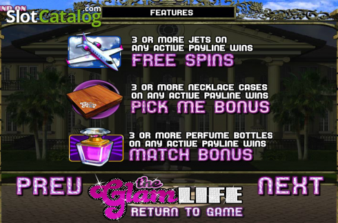 Paytable 2. The Glam Life (Video Slots from Betsoft)