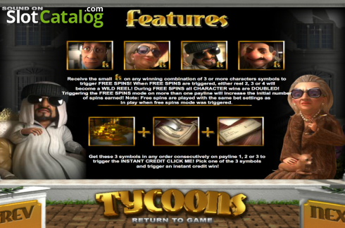 Paytable 2. Tycoons (Video Slot from Betsoft)