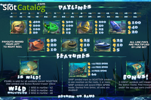 Tabella dei pagamenti. Under the Sea (Betsoft) (Video Slot a partire dal Betsoft)