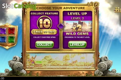 Adventure choise screen. Holy Diver (Video Slots from Big Time Gaming)