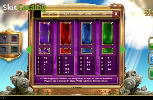 Paytable 1. Holy Diver (Video Slots from Big Time Gaming)