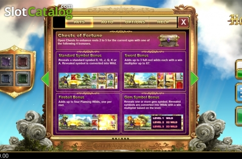 Paytable 3. Holy Diver (Video Slots from Big Time Gaming)