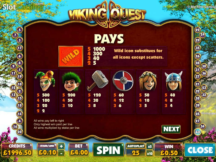 Review of Viking Quest (Video Slot from Big Time Gaming) RTP:96 ...