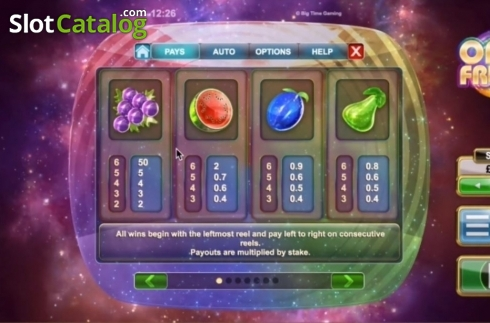 Paytable 1. Opal Fruits (Video Slot from Big Time Gaming)
