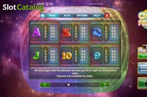 Paytable 2. Opal Fruits (Video Slot from Big Time Gaming)