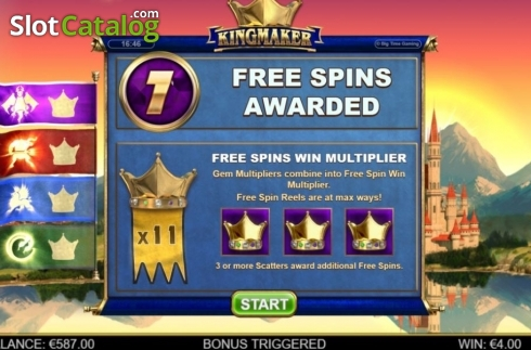 Free Spins 1. Kingmaker (Video Slot from Big Time Gaming)