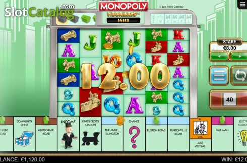 Win Screen 2. Monopoly Megaways (Video Slots from Big Time Gaming)