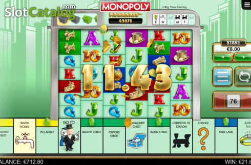 Win Screen 3. Monopoly Megaways (Video Slots from Big Time Gaming)