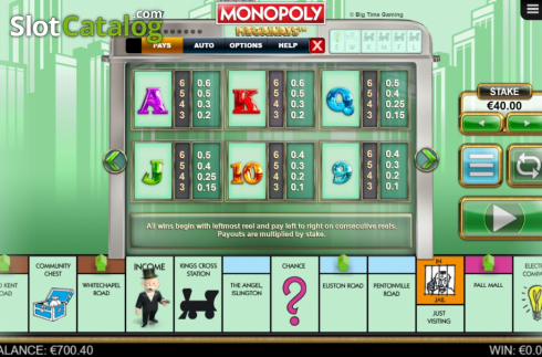 Paytable 3. Monopoly Megaways (Video Slots from Big Time Gaming)