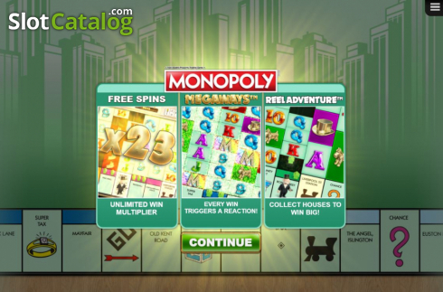 Start Screen. Monopoly Megaways (Video Slots from Big Time Gaming)