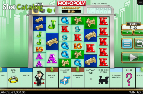 Reel Screen. Monopoly Megaways (Video Slots from Big Time Gaming)