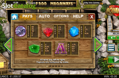 Paytable 1. Bonanza (Video Slot từ Big Time Gaming)