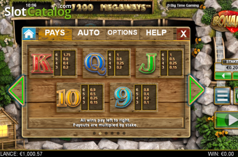 Paytable 2. Bonanza (Video Slot từ Big Time Gaming)