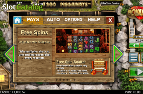 Paytable 5. Bonanza (Video Slot từ Big Time Gaming)