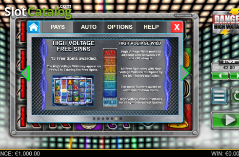 Paytable 6. Danger High Voltage (Video Slot from Big Time Gaming)
