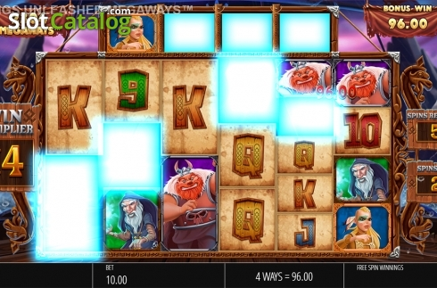 Skjerm10. Vikings Unleashed Megaways (Video Slot fra Blueprint)