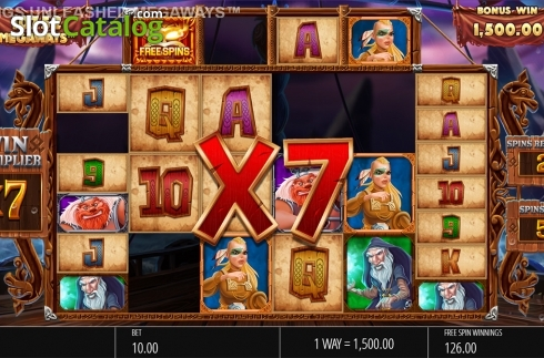Skjerm12. Vikings Unleashed Megaways (Video Slot fra Blueprint)