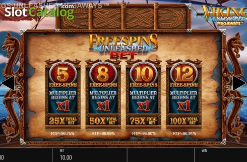 Skjerm21. Vikings Unleashed Megaways (Video Slot fra Blueprint)