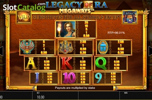 Skärm15. Legacy of Ra Megaways (Video Slot från Blueprint)