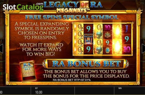 Skärm18. Legacy of Ra Megaways (Video Slot från Blueprint)