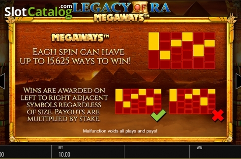 Skärm19. Legacy of Ra Megaways (Video Slot från Blueprint)