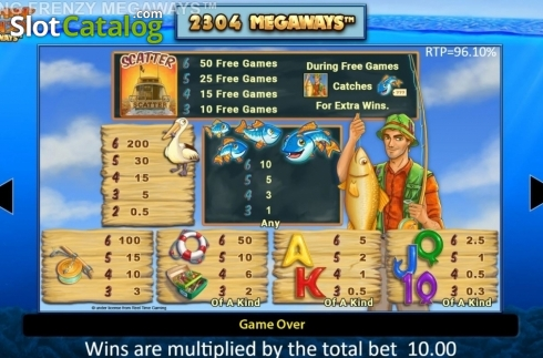 Paytable. Fishin' Frenzy Megaways (Video Slot from Blueprint)