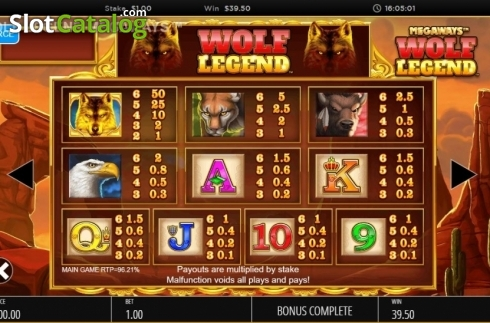 Skjerm15. Wolf Legend Megaways (Video Slot fra Blueprint)