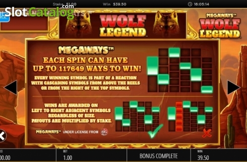 Skjerm16. Wolf Legend Megaways (Video Slot fra Blueprint)