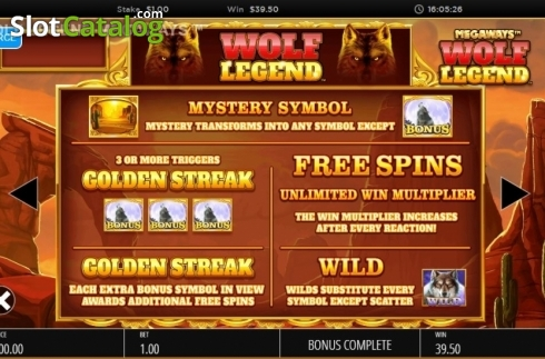 Skjerm17. Wolf Legend Megaways (Video Slot fra Blueprint)