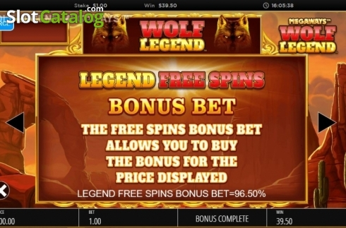 Skjerm18. Wolf Legend Megaways (Video Slot fra Blueprint)
