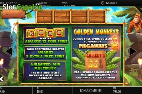 Features 2. Return of Kong Megaways (Video Slot from Blueprint)