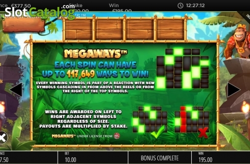 Paylines. Return of Kong Megaways (Video Slot from Blueprint)