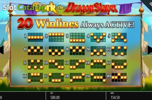Paylines. Dork the Dragon Slayer (Video Slots from Blueprint)