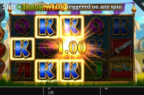 Win Screen. Dork the Dragon Slayer (Video Slots from Blueprint)