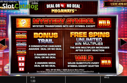 Features 1. Deal or No Deal Megaways (Video Slot from Blueprint)