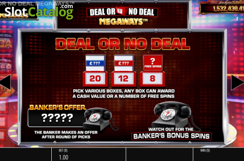 Features 2. Deal or No Deal Megaways (Video Slot from Blueprint)