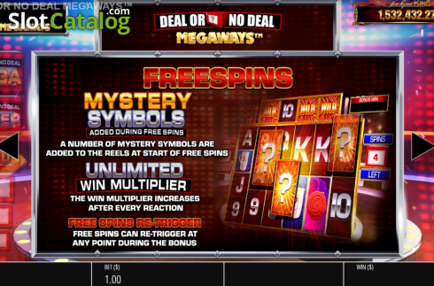 Features 3. Deal or No Deal Megaways (Video Slot from Blueprint)