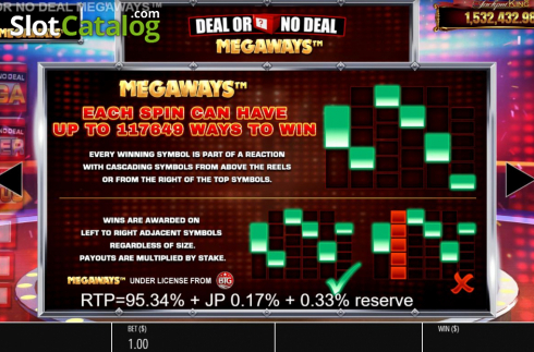 Paylines. Deal or No Deal Megaways (Video Slot from Blueprint)
