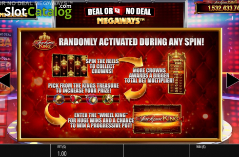 Jackpot Info. Deal or No Deal Megaways (Video Slot from Blueprint)